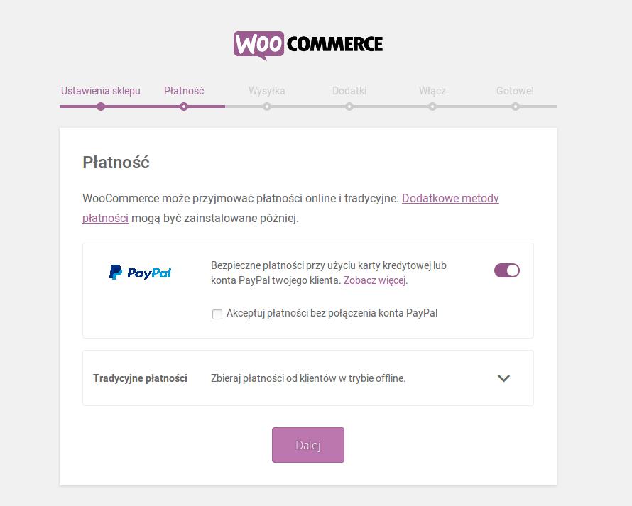 Instalacja WooCommerce - wybór procesora płatniczego