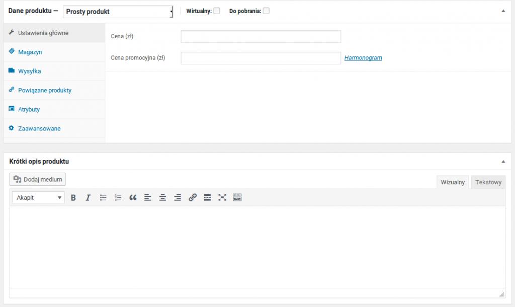 Instalacja WooCommerce - konfiguracja produktu