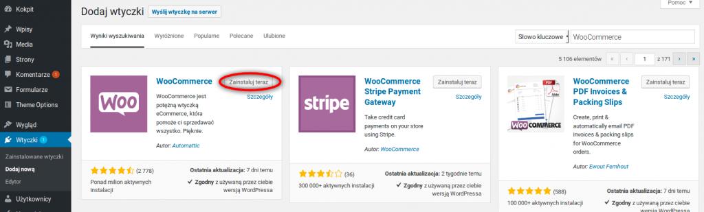 Instalacja systemu WooCommerce