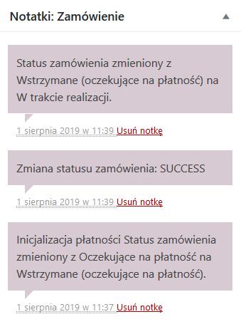 Komentarze śledzące status transakcji w systemie WooCommerce