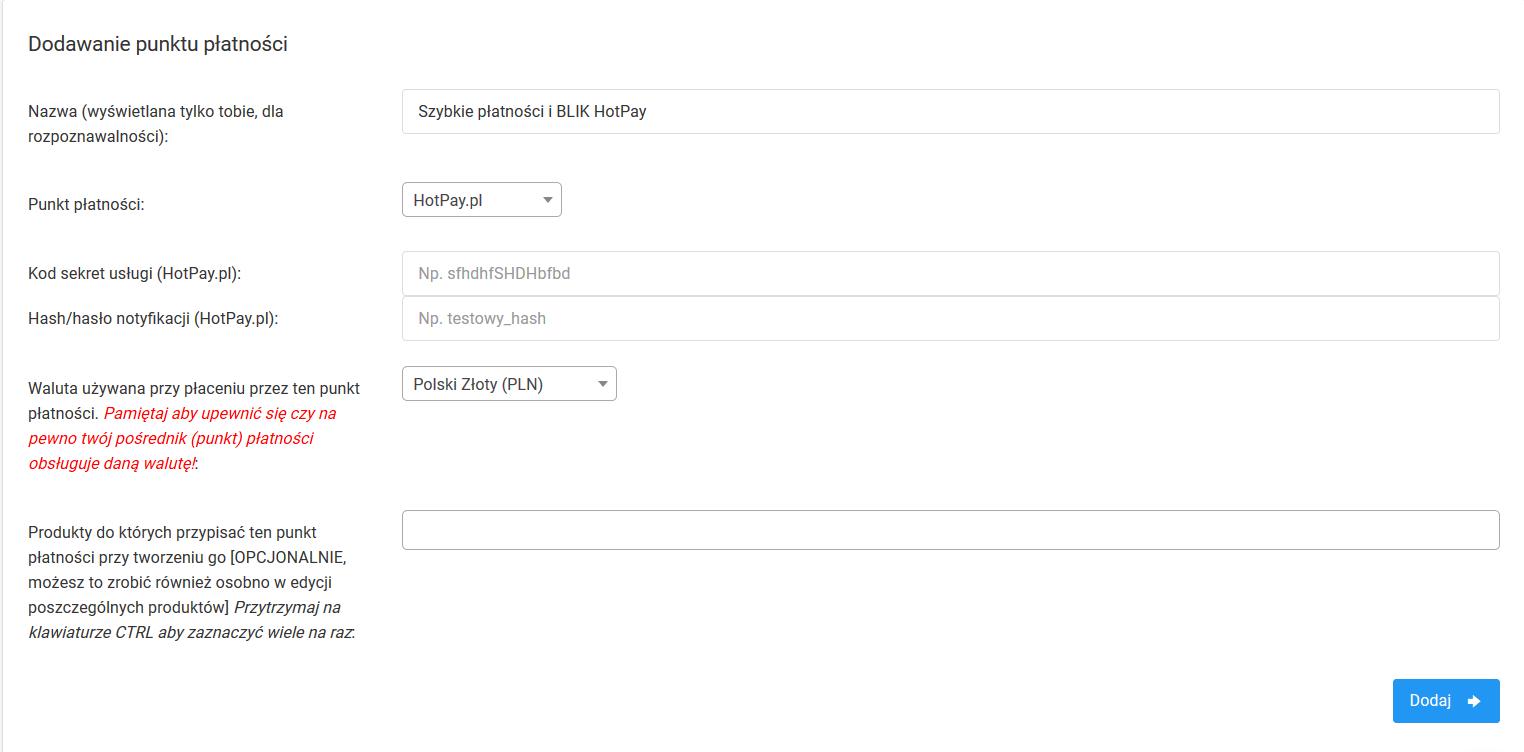 Dodawanie punktu płatności w WebToLearn