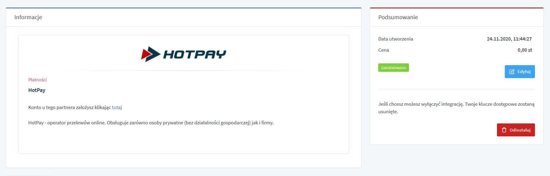 TakeDrop - skonfigurowane płatności HotPay